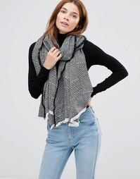 Oversize-шарф с узором в стиле пэтчворк Hat Attack - Черный