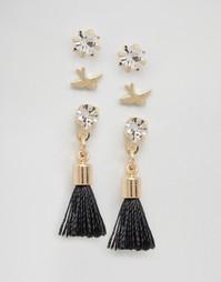 Набор из 3 пар сережек-гвоздиков Cara NY - Золотой