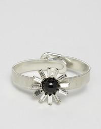 Броский браслет-манжета с камнем Nylon - Серебряный