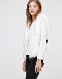 Белый жилет из искусственного меха Jayley Luxurious - Белый