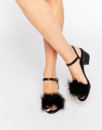 Туфли на блочном каблуке с искусственными перьями Truffle - Черный