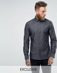 Джинсовая рубашка суперузкого кроя с принтом Noose and Monkey - Черный