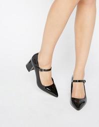 Туфли на среднем каблуке с острым носком в стиле Мэри Джейн Office Mandy - Черный