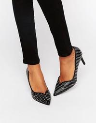 Кожаные остроносые туфли-лодочки с заклепками Office Minx - Черный