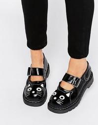 Массивные кожаные туфли с ремешком и кошачьей отделкой T.U.K. - Мульти
