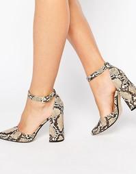 Кожаные сандалии на каблуке со змеиным принтом Office Sharp - Мульти