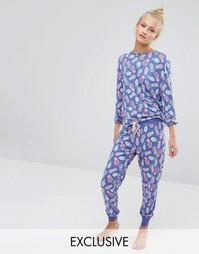 Пижамный комплект с принтом ананасов Chelsea Peers - Фиолетовый