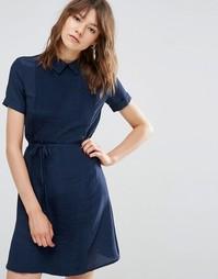 Плиссированное платье с воротником YMC - Синий