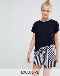 Пижамный комплект в полоску с шортами и футболкой Chelsea Peers - Синий