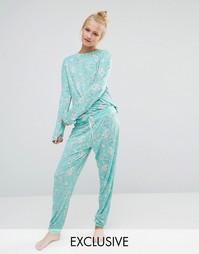 Пижама с принтом садовых цветов Chelsea Peers - Зеленый