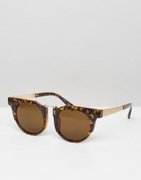 AJ Morgan Round Sunglasses With Chunky Frame - Коричневый