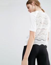 Suncoo Lace Back Silk T-Shirt - Белый