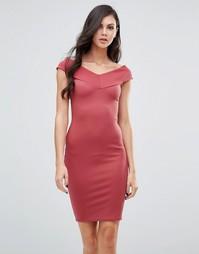 Платье-футляр с широким вырезом Lipstick Boutique - Красный