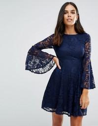 Короткое приталенное платье с длинными рукавами Jessica Wright - Темно-синий