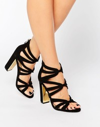 Сандалии на каблуке с золотистой отделкой Head Over Heels By Dune Micha - Черный
