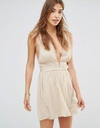 Платье мини с декольте в греческом стиле Oh My Love - Золотой