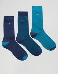 3 пары носков из хлопка и модала с геометрическим принтом Feraud - Темно-синий