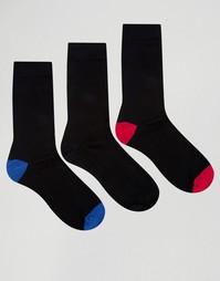 3 пары хлопковых носков с контрастной пяткой и носком Ciao Italy - Черный