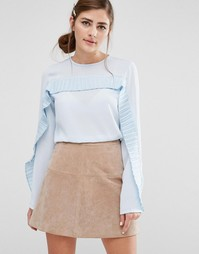 Fashion Union Long Sleeved Top With Pleated Ruffle Trim - Белый