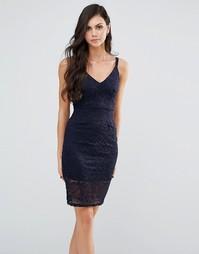 Кружевное платье миди на бретельках Lipstick Boutique - Темно-синий