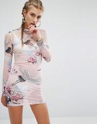 Полупрозрачное облегающее платье мини с принтом Jaded London - Розовый