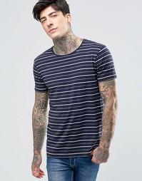 Scotch & Soda T-Shirt Navy Stripe In Stretch Slim Fit In Navy - Темно-синий