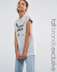 Трикотажная футболка с узором Daisy Street Tall - Серый