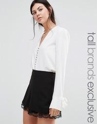 Блузка на пуговицах с манжетами на завязке Alter Tall - Кремовый