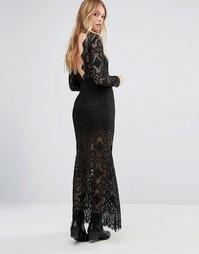 Кружевное платье макси с глубоким вырезом сзади Ebonie n Ivory - Черный