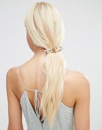 Заколка для волос с цветочной отделкой и жемчугом Orelia - Золотой