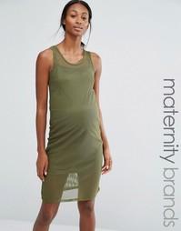 Облегающее сетчатое платье для дома для беременных Bluebelle Maternity - Зеленый
