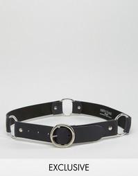 Кожаный ремень с кольцом Retro Luxe London - Черный