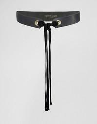 Кожаный ремень с замшевой завязкой Retro Luxe London - Черный