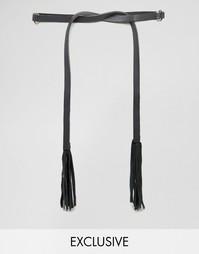 Кожаный пояс с кольцом и кисточкой Retro Luxe London - Черный