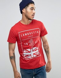 Футболка с британским флагом Lambretta - Красный
