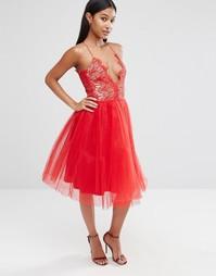 Платье миди с юбкой из тюля Rare London - Красный