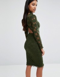 Кружевное облегающее платье с открытой спинкой Rare London - Зеленый