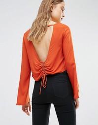 Блузка с открытой спиной и шнуровкой на талии First & I - Оранжевый