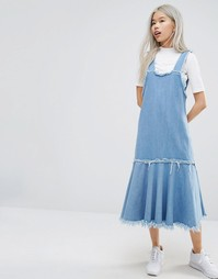 STYLENANDA Frayed Edge Denim Pinafore Dress - Синий