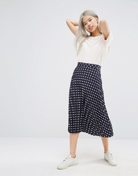 STYLENANDA Polka Dot Pleated Midi Skirt - Темно-синий