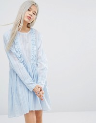 STYLENANDA Long Sleeve Smock Dress With Woven Stripe And Ruffle Details - Мульти