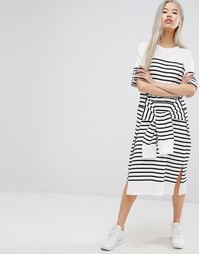 STYLENANDA Oversized Midi T-shirt Dress With Tie Waist In Stripe - Черный