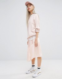 STYLENANDA Midi Skirt With Step Hem Panel - Розовый