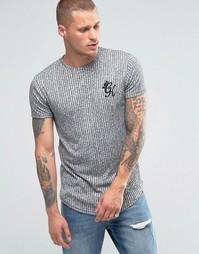 Облегающая футболка в рубчик с логотипом Gym King - Серый