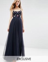 Платье макси с отделкой в стиле фолк Needle & Thread - Темно-синий