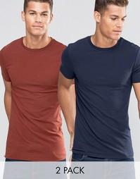 2 длинных облегающих футболки ASOS (темно-синий/красный) - СКИДКА 15 - Мульти