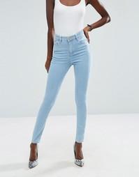 Голубые джинсы скинни с завышенной талией ASOS Ridley - Синий