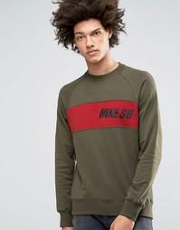 Зеленый свитшот с круглым вырезом Nike SB Everett 800145-325 - Зеленый