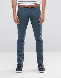Узкие стретчевые брюки чинос с ремнем Selected Homme - Синий