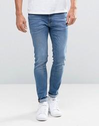 Синие выбеленные зауженные джинсы Jack & Jones - Черный